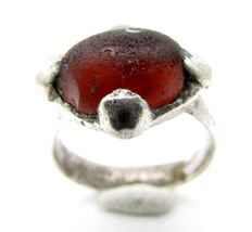 Saxon Era Silver Ring with Dark Red Stone - 16mm