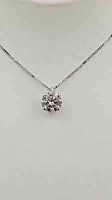0.91 ct round diamond pendant in 14 kt white gold - 44cm ***No reserve price ***