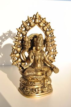 Bronze Lakshmi with lucky coin - India - Late 20th century