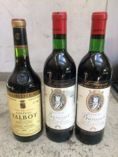 1 x  1973 Chateau Talbot Grand Cru Classé -  2 x 1973 Baronat Baron Philippe de Rothschild St-Emilion Grand-Vin / 3 bottles in total