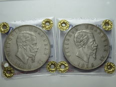 Kingdom of Italy – 5 Lire – 1869, Milan & 1876, Rome – Vittorio Emanuele II (2 coins) – Silver