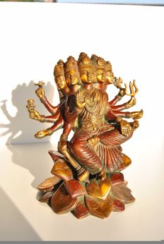 Bronze Gayatri goddess on lotus – India – Late 20th century