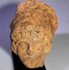 Votive head of a lady, baked clay - h 9cm, w 8cm