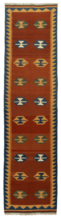 Authentic, original KILIM rug – Handmade – 100% wool – Dimensions: 303 x 77 cm – With certificate of authenticity from an official appraiser (Galleria Farah 1970)