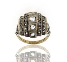 Art Deco Diamond ring in gold and silver, set with 45 diamonds, size 9