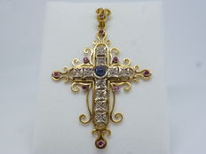 18k Gold Ladies Cross XL size with diamonds, garnet and sapphire