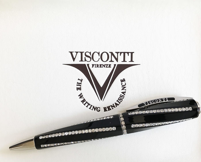 Visconti - Divina Royale - Ballpoint pen - Black CT with Swarovski crystals