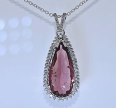 Pear Tourmaline with Diamonds necklace - No reserve price!