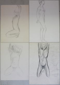 Original; lot with 4 studies of naked young men by Constance Wibaut-ca. 1950