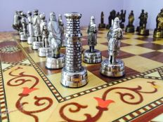 Vintage Chess board Grenadine Inlaid Wood Artegran, plus Arab World against Christians Chess set.