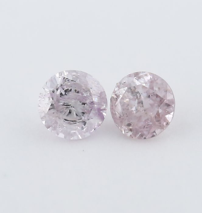 Pair 0.05 + 0.05 = 0.10 ct. Round Brilliant Natural Diamonds - I 2