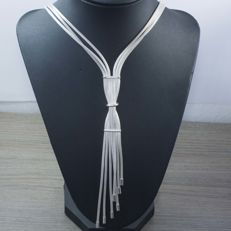 Necklace in 925 sterling silver with Italian design, 60 cm