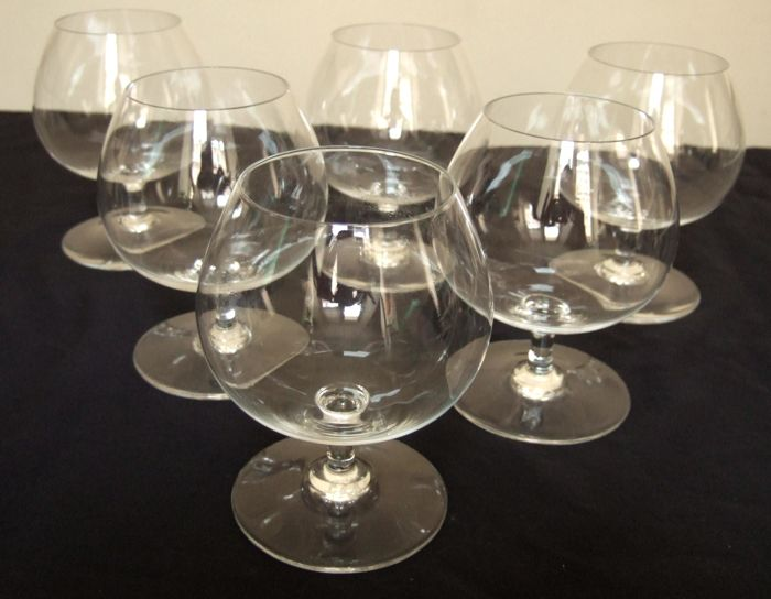 Baccarat crystal - 6 Brandy Cognac glasses, oenologie pattern, France, mid 20th century