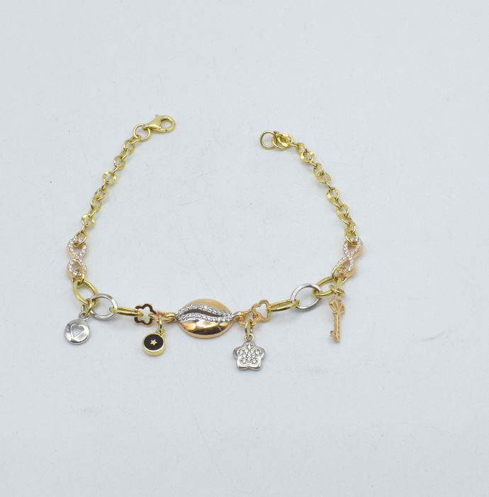 White and yellow 14k gold bracelet with charms with zircon stone -  size : 20  x 1.5 cm  with zircon stone