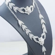 925 silver set in Spanish design. 47 cm + 22 cm
