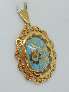18k gold Ladies Pendant Turquoise paste, hand made - 27.4 mm