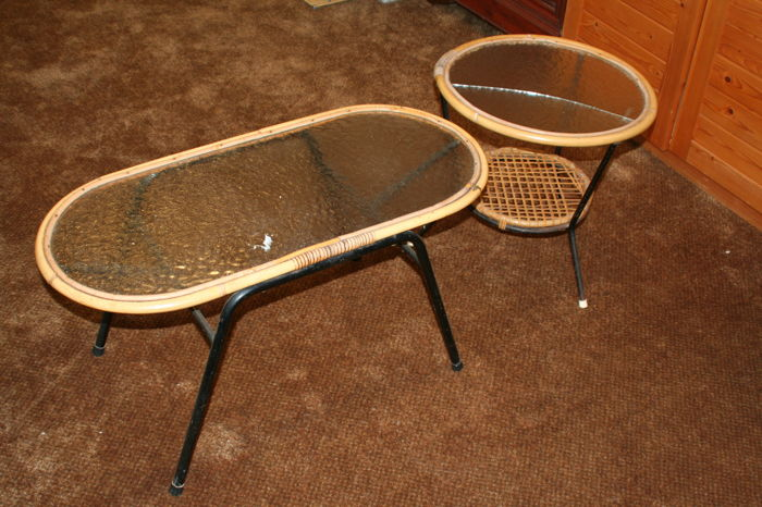 Producer Unknown   Vintage Rattan Tables With Glass Top