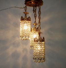 Brass and crystal ceiling pendant Light, 21st century