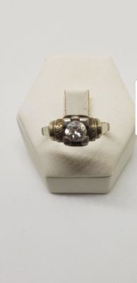 18 kt gold ring with 0.50 ct diamond - Ring size: 19 (IT).