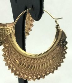 Antique earrings - South India - 9 kt gold