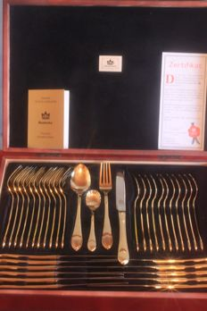 "Anniversary edition, SBS Solingen cutlery 70 pieces - ""Empire Royal Collection"" model - 18/10 stainless steel, 23/24 karat hard gold plated, new, mint condition, 1000 gold, fine wood cutlery tray,"