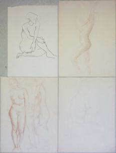 Original; lot with 4 sketches of female nude by Willem Kouwer Boomkens - ca 1950