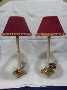 A Set of 2 Table Lamps With Gold Polishing and Red Velvet, 1960´s, Portugal
