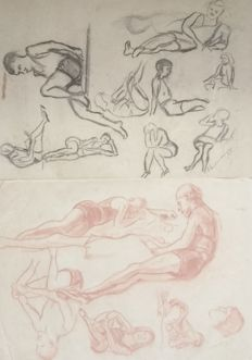 Original; Lot with 2 drawings [bathing young men] by Dirk Smorenberg-1927/1933