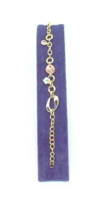 Rose, white and yellow gold 14 k charm bracelet - 20 cm