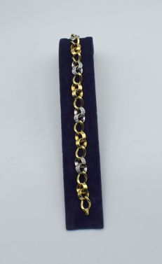 Yellow and white gold 14 k bracelet - 20.5 cm