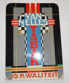 Enamel advertising sign for Van Nelle - Design by Jac. Jongert - very good condition / late 20th century