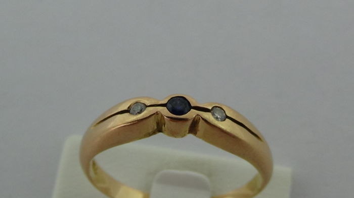 18k gold ring with diamond, sapphire and zirconia - ring size 16.55 mm