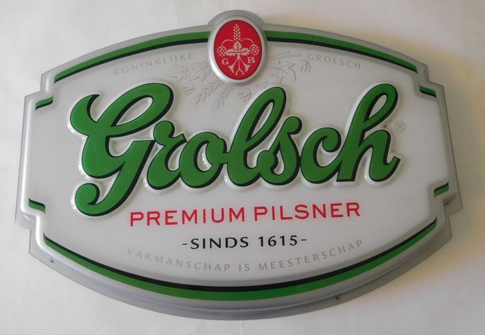 Beer: Hollow plastic advertising Display Grolsch/2nd half of 20th century