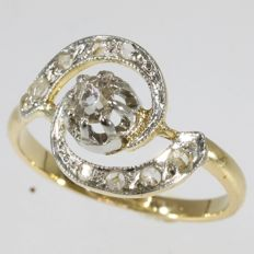 Belle Epoque bicolour gold diamond tourbillion engagement ring - anno 1900