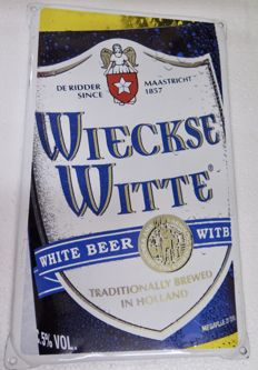 Wieckse White enamel sign 1990s
