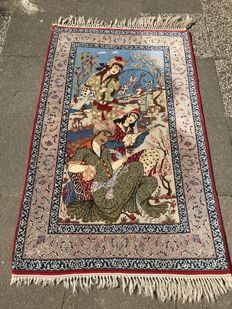 Persian Isfahan! Wool on silk! Very valuable! Investment! Oriental carpet, hand-knotted