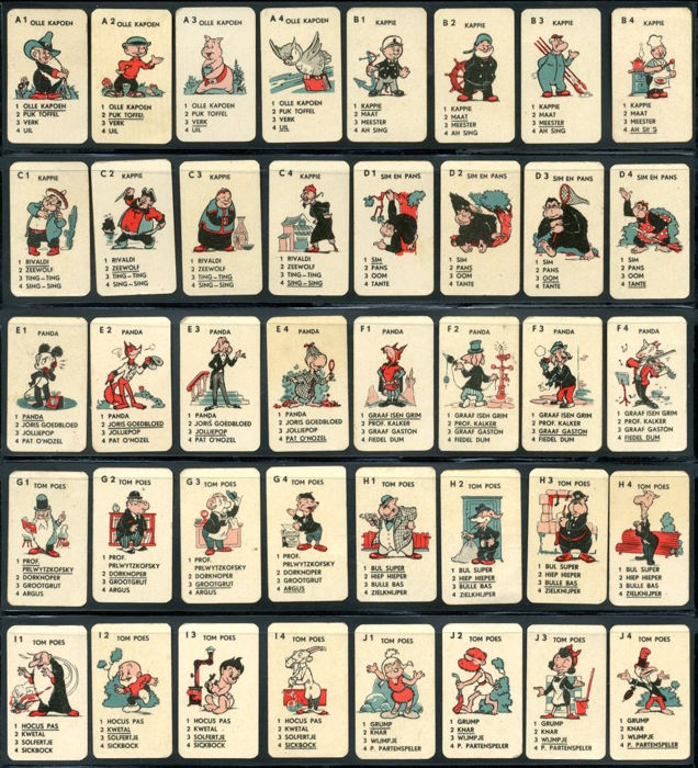 Oliver B. Bumble and Tom Puss - Tom Poes Rolfix mini quartets (happy families) card game featuring Toonder's main characters - (1953)