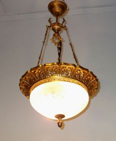 brass and glass ceiling light, 21st century