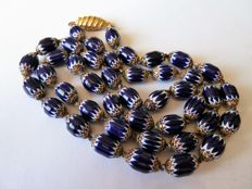 Beautiful necklace in glass paste with handmade chevrons - 6 layers - from a private collection