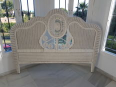 Beautiful rattan headboard handmade and lacquered in white, Spain, from the 80s.