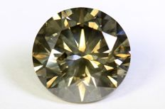 Diamond – 3.02 ct – Fancy Dark Greenish Yellow – SI2 – No reserve.