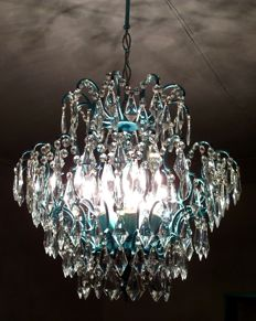 metal and glass chandelier, 21st century