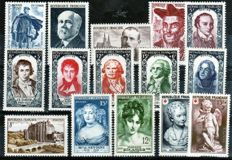 France 1950/1955 – Selection of 6 complete years – Yvert No. 863/1049.