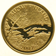 "Finland – 100 Euro 2002 ""Lapland Midnight Sun"" – ¼ oz gold."