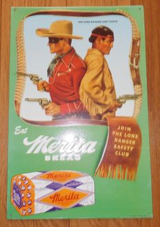 Tin advertising sign - Eat Merita bread with Lone Ranger and Tonto