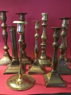 Nine different bronze candlesticks - Mid/first half of 20th century
