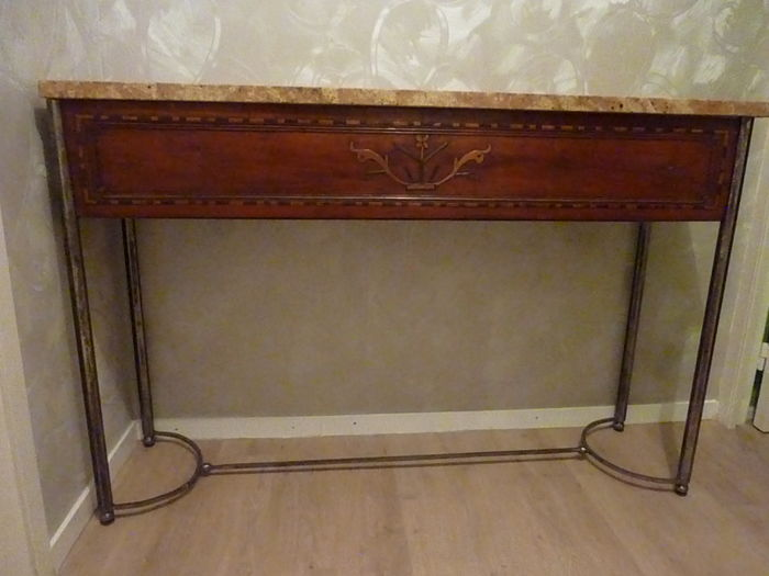 Console met lade in roze graniet 20e eeuw - Console ingang kast lade ...