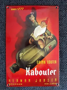 Sfeervol zwaar emaille bord ''Drink louter Kabouter''