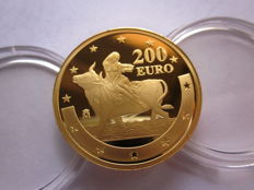 Spain – gold – 200 euros – Juan Carlos and Sofía – 2003 – The Abduction of Europa