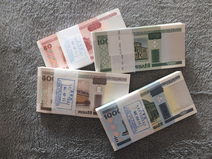 Belarus - 100 x 50 roubles, 100 x 100 roubles, 100 x 500 roubles and 100 x 1,000 roubles - all in original bundles